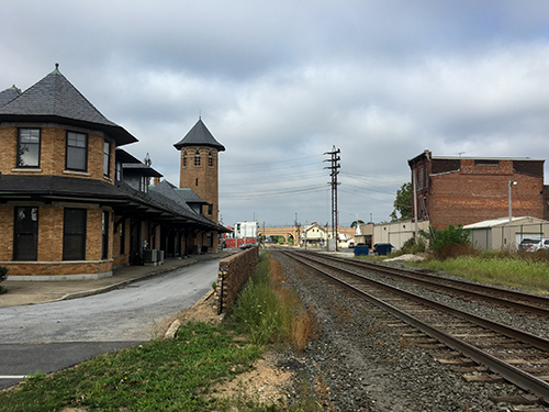 railroad station and tracks